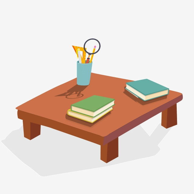 Pen Holder And Book On Cartoon Table, Cartoon, Illustration, Table ... clipart free download