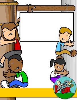 Cartoon teacher border clipart clip Teacher / Student / Person Page Sign Borders - Interchangeable Clip art clip