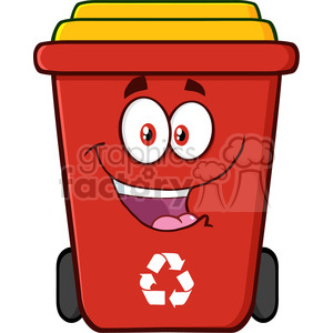 royalty free rf clipart illustration happy red recycle bin cartoon  character vector illustration isolated on white background . Royalty-free  clipart # ... picture freeuse library
