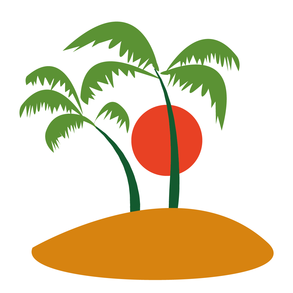 Free sun palm clipart picture Ilha do Coqueiro Coconut Tree Clip art - Vector trees and sun 1135 ... picture