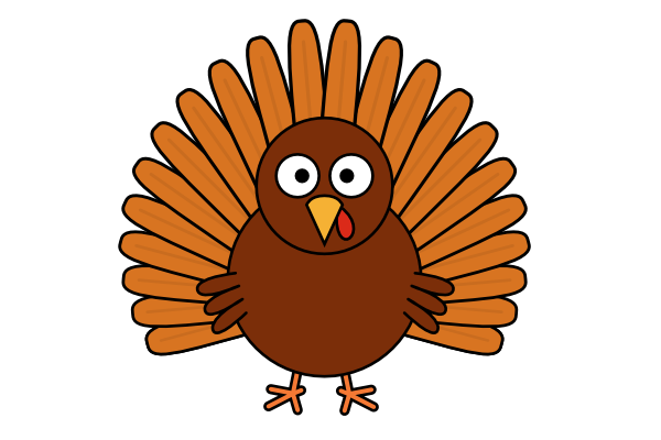 Simple clipart turkey clipart black and white stock How to Draw a Cartoon Turkey | GoInkscape! clipart black and white stock
