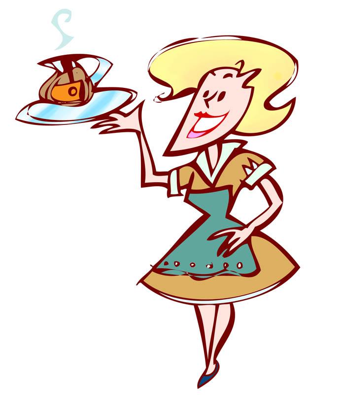 Cartoon waitress clipart vector royalty free Free Cartoon Waitress, Download Free Clip Art, Free Clip Art on ... vector royalty free