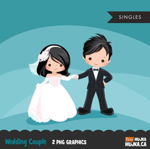 Cartoon wedding couple clipart vector stock Wedding couple clipart, bride and groom graphics, valentines day ... vector stock