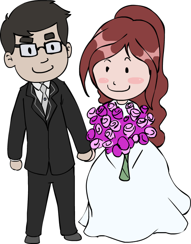 Cartoon wedding couple clipart picture black and white library Free Wedding Couple Cartoon Images, Download Free Clip Art, Free ... picture black and white library
