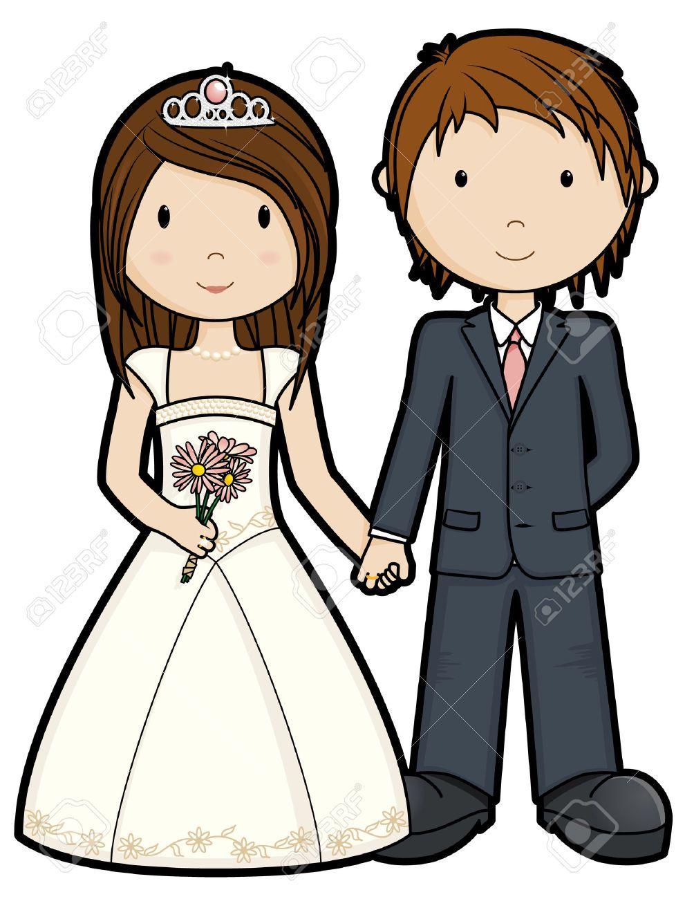 Cartoon wedding couple clipart clip art stock Stock Vector | Photo | Wedding images, Just married, Wedding clip art stock