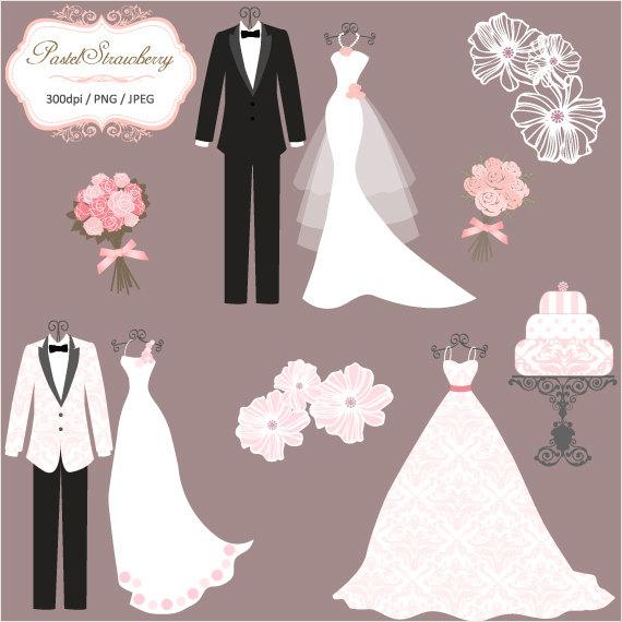 Cartoon wedding dress clipart image freeuse download 3 Luxury Wedding Dress & 2 Tuxedos - Personal Or Small Commercial ... image freeuse download