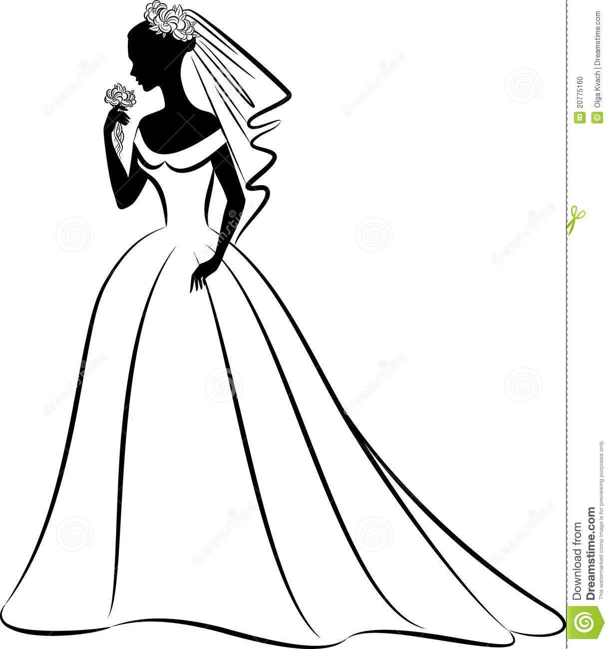 Cartoon wedding dress clipart vector royalty free download Wedding+dress+clipart | Ideas for the house | Wedding silhouette ... vector royalty free download