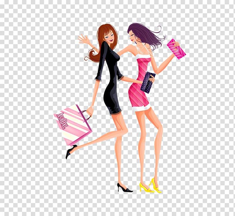 Slim clipart picture free Cartoon Designer, Cartoon slim fashion shopping women transparent ... picture free