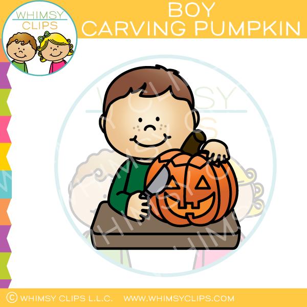 Carve a pumpikin clipart jpg black and white download Boy Carving a Pumpkin Clip Art jpg black and white download