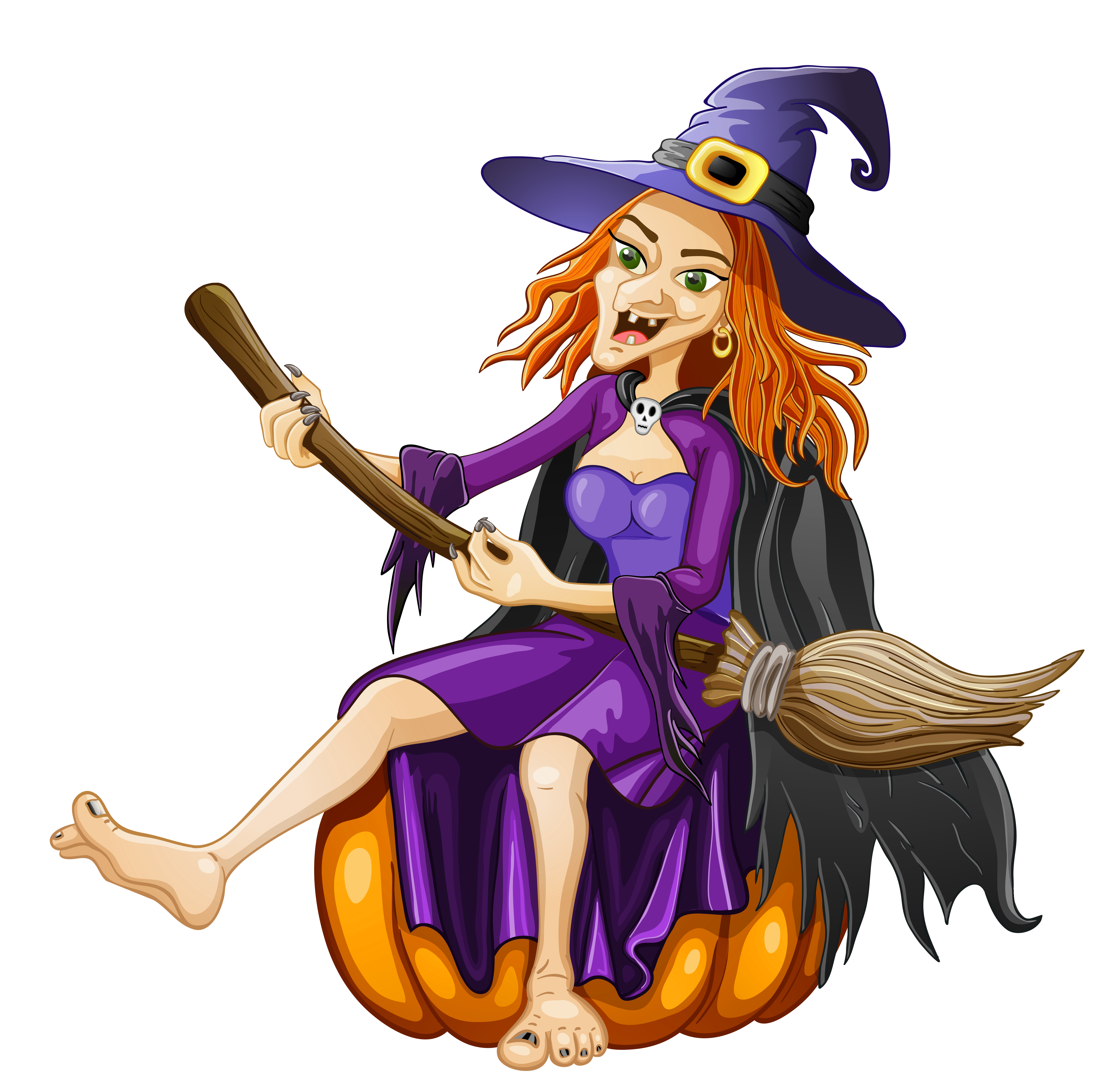 Carved pumpkin with witch hat clipart jpg royalty free stock Halloween Witch with Pumpkin PNG Clipart | Gallery Yopriceville ... jpg royalty free stock