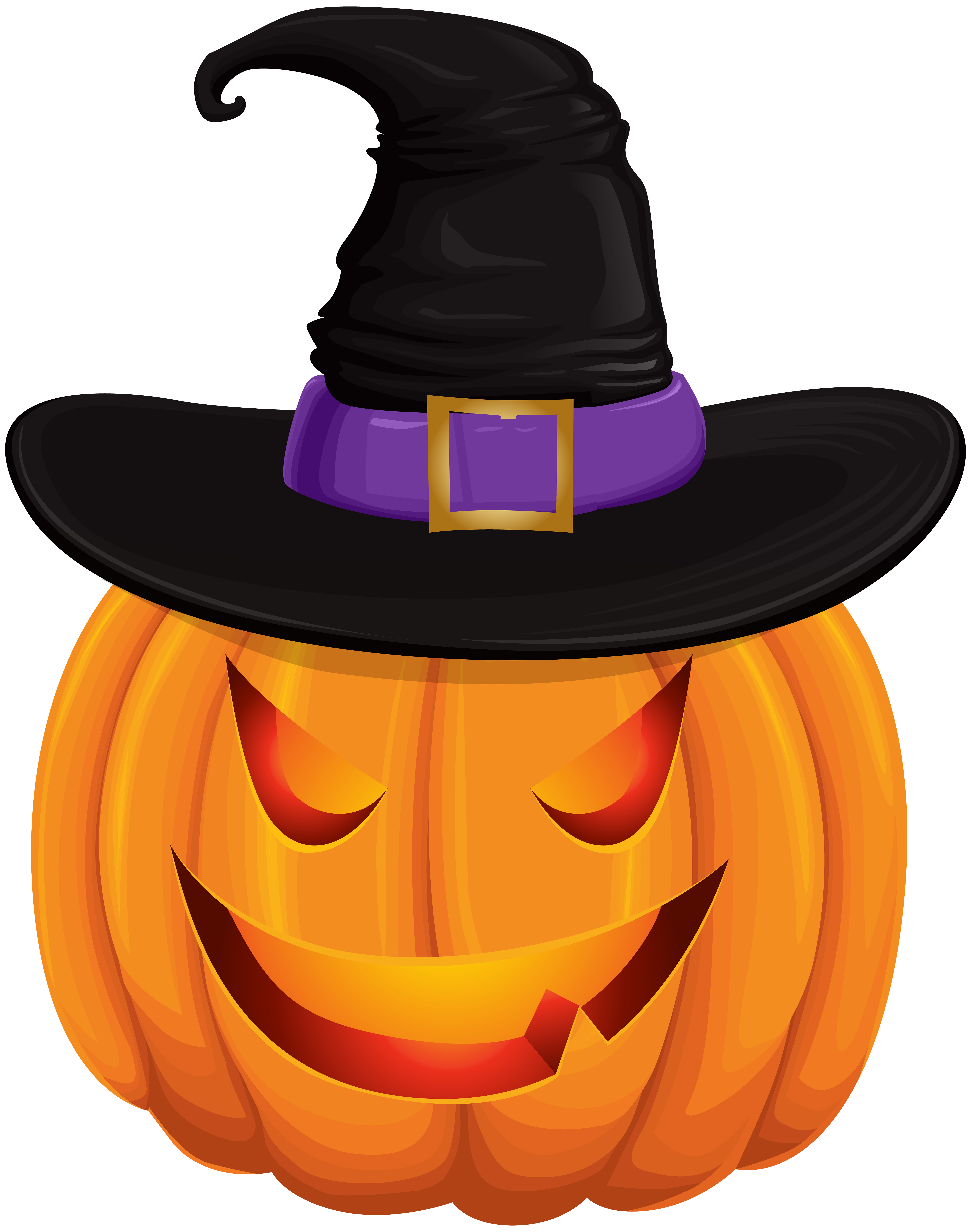 Pumpkin witch hat clipart free library Halloween Pumpkin with Witch Hat Transparent Clip Art | Gallery ... free library