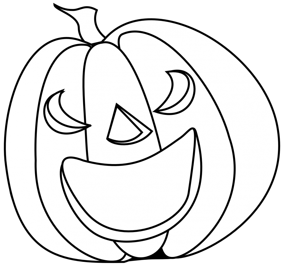 Smiley pumpkin clipart black and white jpg free download Pumpkins Coloring Pages Free Black And White Pumpkin Carving ... jpg free download