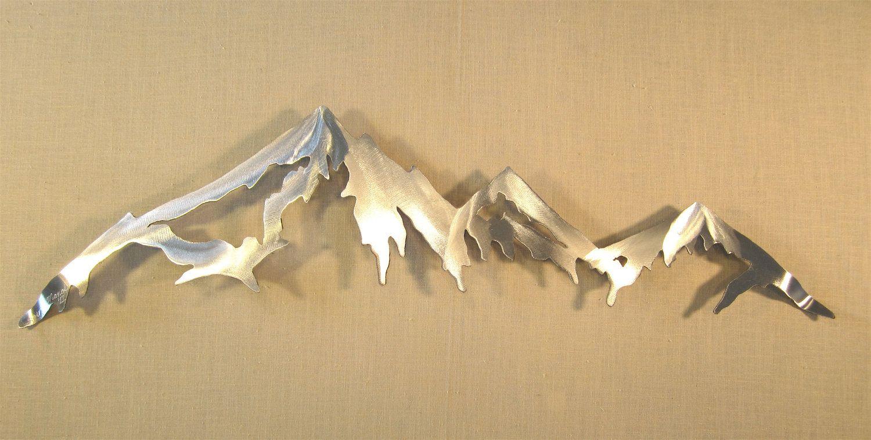 Mountain Range Cascade Mountains Metal Wall Art Home Decor Log Cabin ... picture free