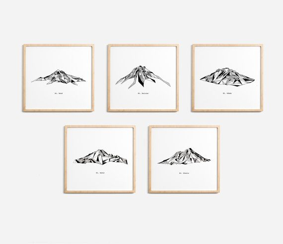 Cascade mountains silhouette clipart clip black and white stock Cascade Range Mountains Polygonal Drawings Art Print Collection ... clip black and white stock
