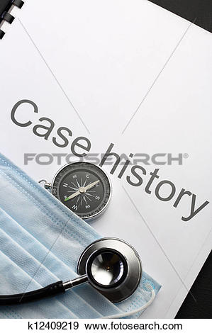 Case history clipart image black and white Stock Photograph of Case history, stethoscope, compass and mask ... image black and white