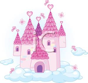Castle in the clouds clipart banner Clipart Image: A Pink Heart Castle In the Clouds banner