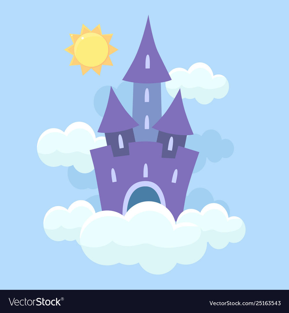 Castle in the clouds clipart jpg black and white library Magic fantasy fairytale castle flying in clouds jpg black and white library