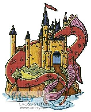 Castle with dragon clipart