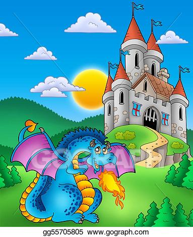 Castle with dragon clipart download Stock Illustration - Big blue dragon with medieval castle. Clipart ... download
