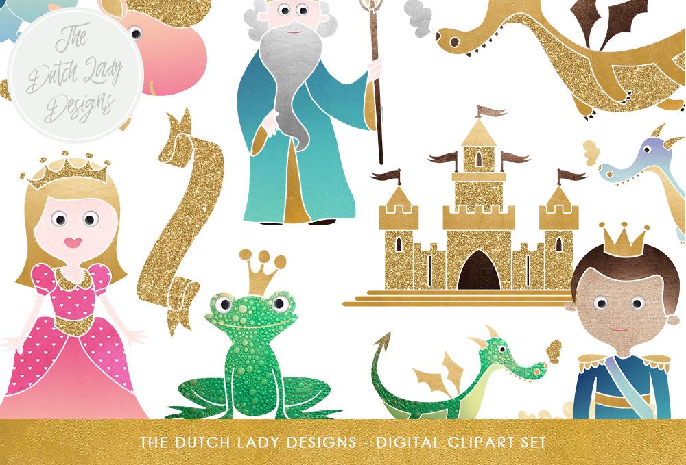 Castle with dragon clipart clip free Fairytale Clipart Set - Kids Graphics - Princess, Prince, Castle, Sorcerer,  Frog, Dragon, & Unicorn clip free