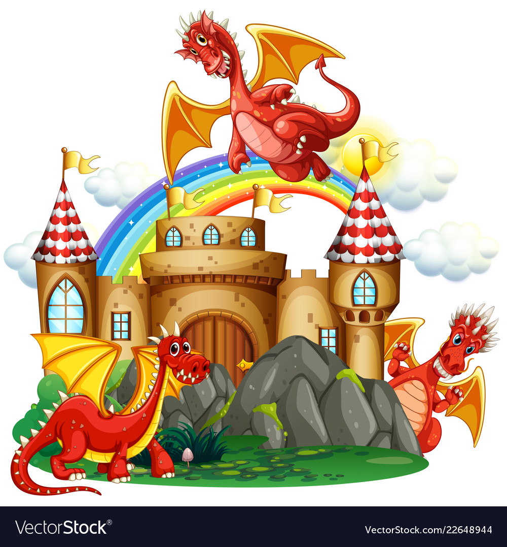 Castle with dragon clipart clip art black and white library Red dragon at the castle clip art black and white library
