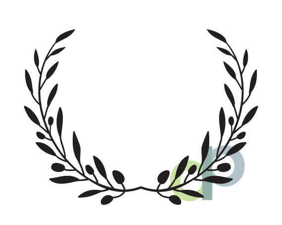 Casual branch wreath clipart svg black and white download Olive Branch Laurel Wreath-print and cut files-png, jpg, svg, dxf ... svg black and white download
