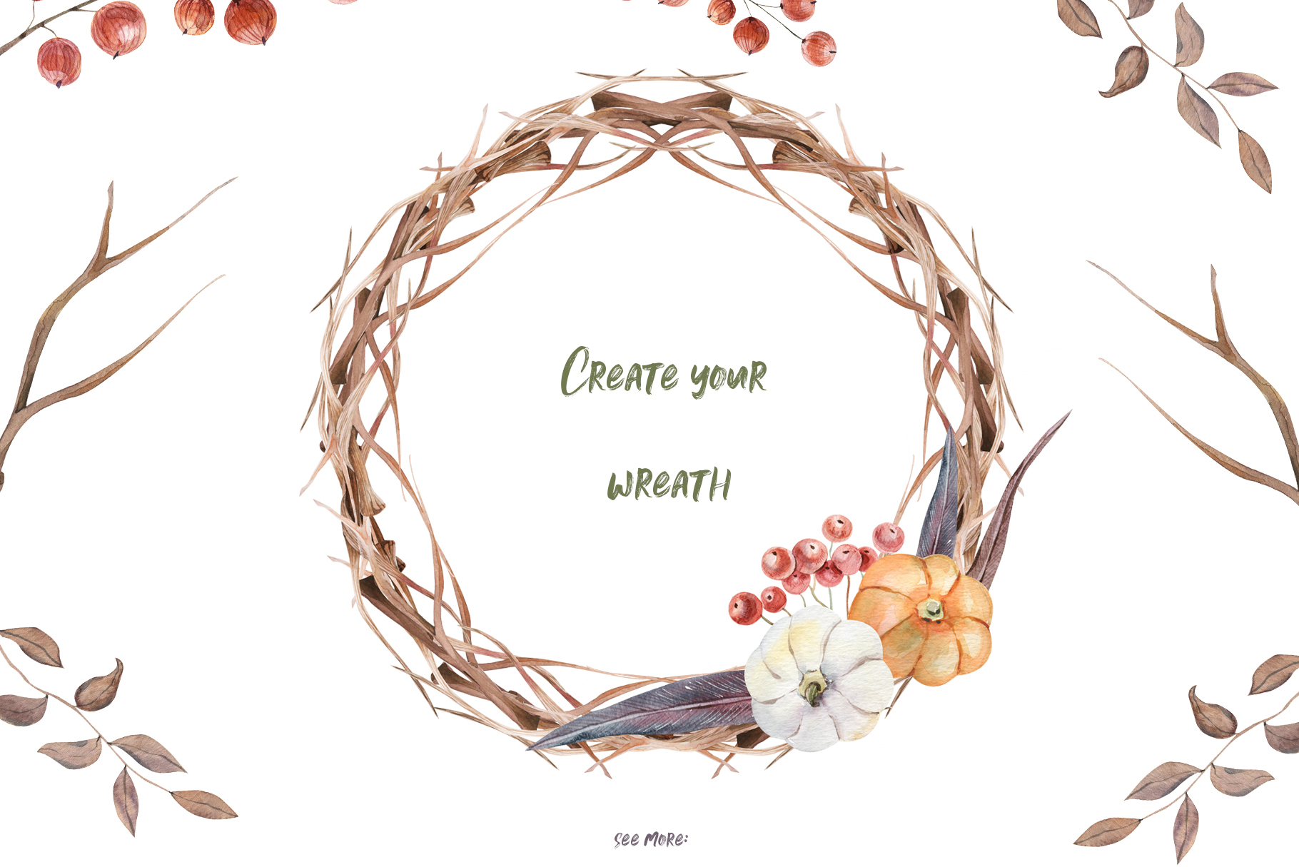Casual branch wreath clipart vector library library Watercolor Wreath Creator at PaintingValley.com | Explore collection ... vector library library