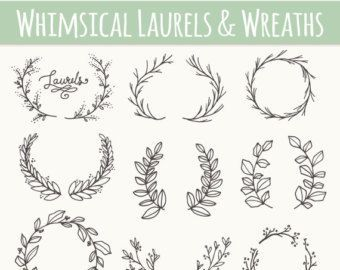 Casual branch wreath clipart clip transparent Olive Branches & Sprigs Clip Art // Photoshop by thePENandBRUSH ... clip transparent