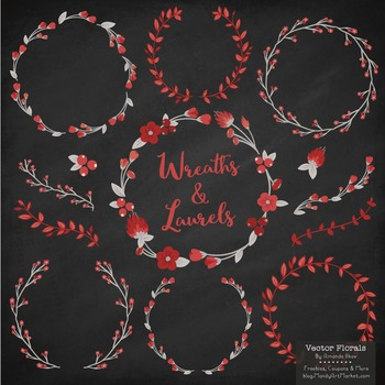 Casual branch wreath clipart vector transparent download Marina Ruby Red Floral Wreaths & Laurels vector transparent download