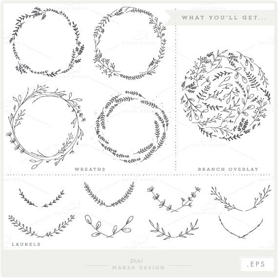 Casual branch wreath clipart clip art black and white download Branches Wreaths Laurels Bundle - VECTOR Files - Clip Art - Digital ... clip art black and white download
