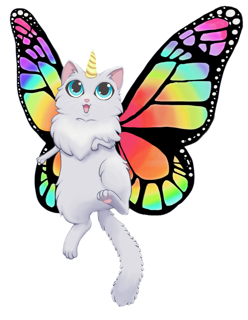 Cat and butterfly clipart clip art butterfly cat unicorn - Sticker by Das Mia clip art