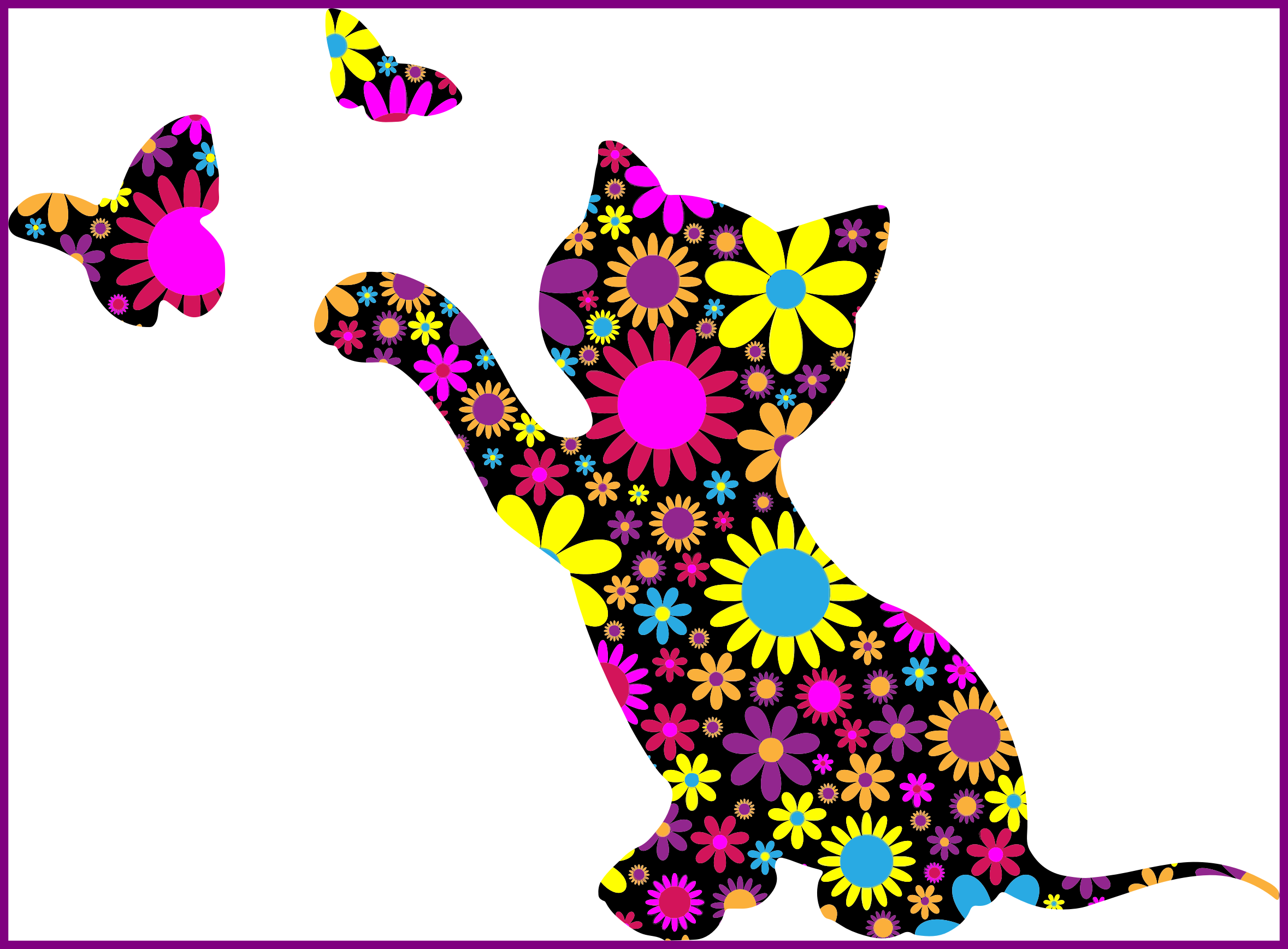 Cat and butterfly clipart jpg library stock Shocking Cat Stretching Silhouette Clipart Design Tattoos For With ... jpg library stock