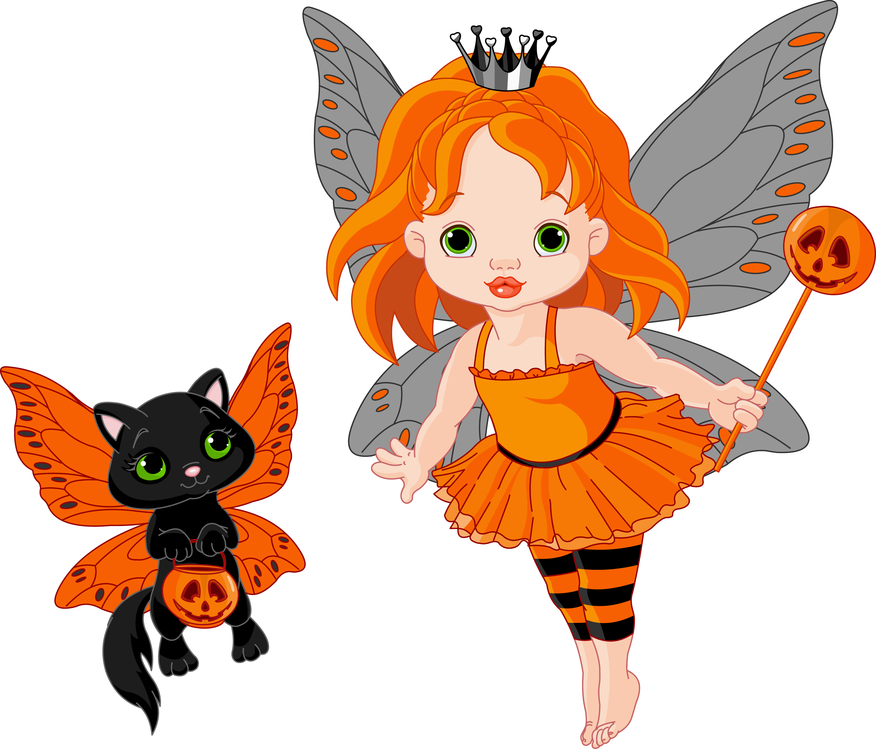 Cat birthday clipart graphic black and white download Transparent Halloween Fairy and Cat | Gallery Yopriceville - High ... graphic black and white download