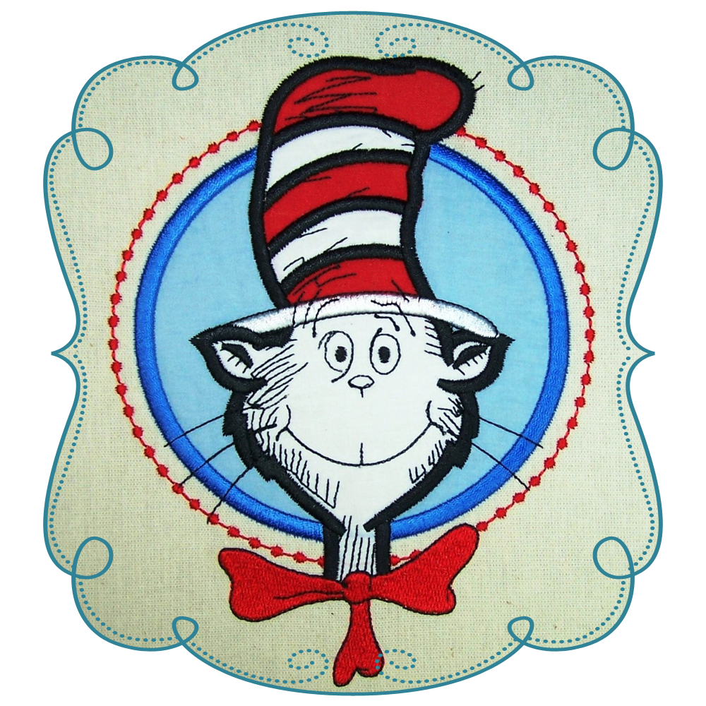 Clipart of cat in the hat graphic free library Cat in the Hat Applique Machine Embroidery Design Pattern-INSTANT ... graphic free library