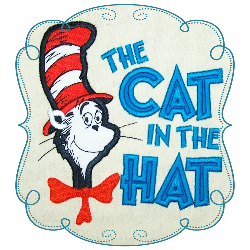 Cat in the hat reading clipart image freeuse download Dr Seuss Cat in the hat Applique Machine Embroidery Design Pattern ... image freeuse download