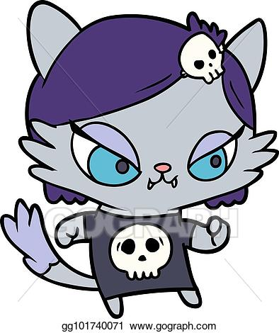 Cat and girl clipart svg Vector Stock - Cute cartoon tough cat girl. Clipart Illustration ... svg