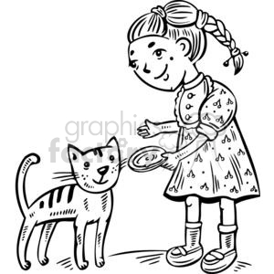 Cat and girl clipart clipart black and white stock girl feeding her cat clipart. Royalty-free clipart # 381502 clipart black and white stock