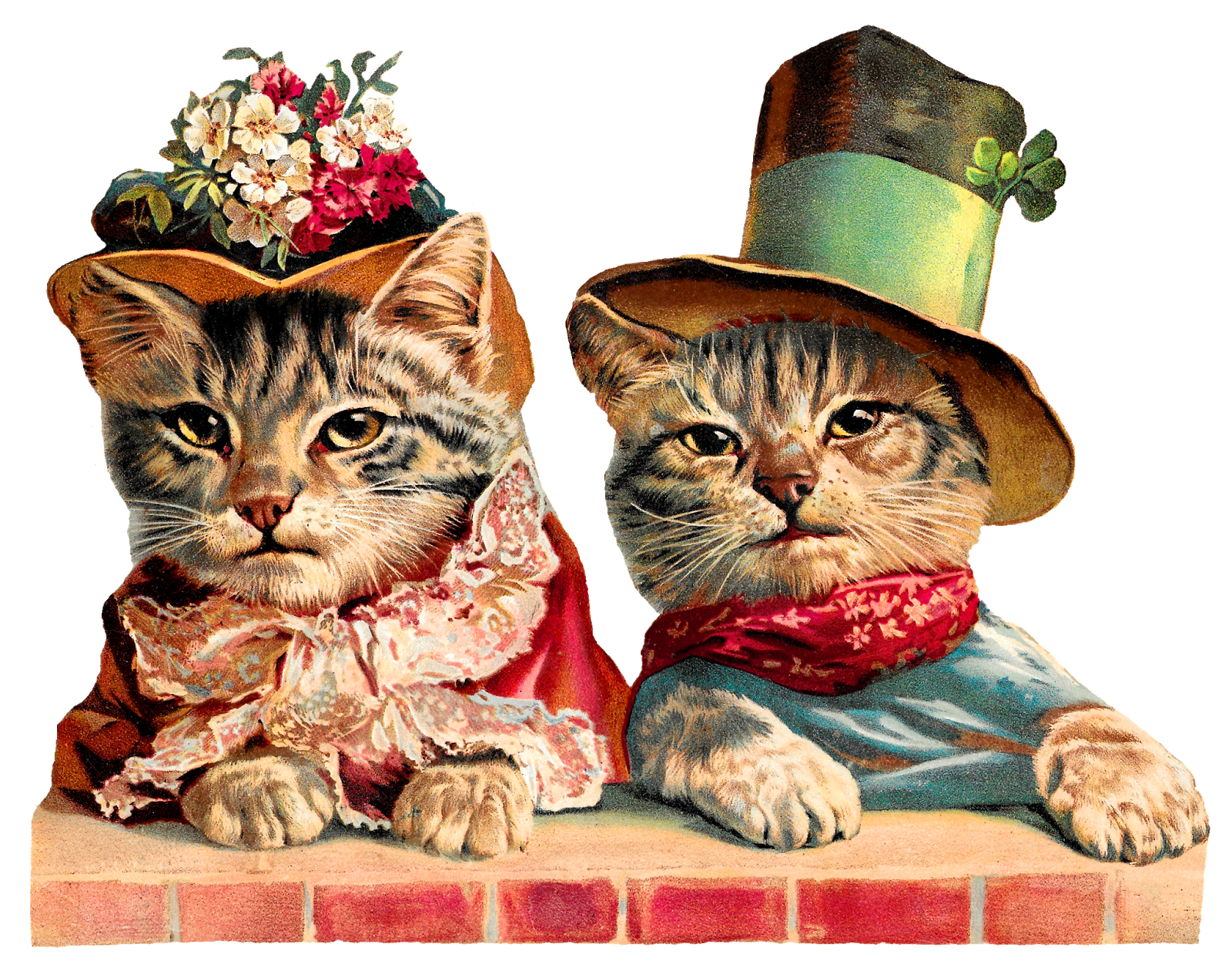 Cat and hat clipart clip Antique Images: Victorian Cats Humorous Clothes Hats Clip Art Image clip