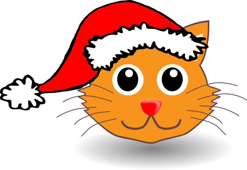 Cat and hat clipart picture freeuse download Clipart - Funny kitty face with Santa Claus hat picture freeuse download