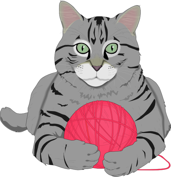 Cat and yarn clipart clip free library Cat With Pink String Clip Art at Clker.com - vector clip art online ... clip free library