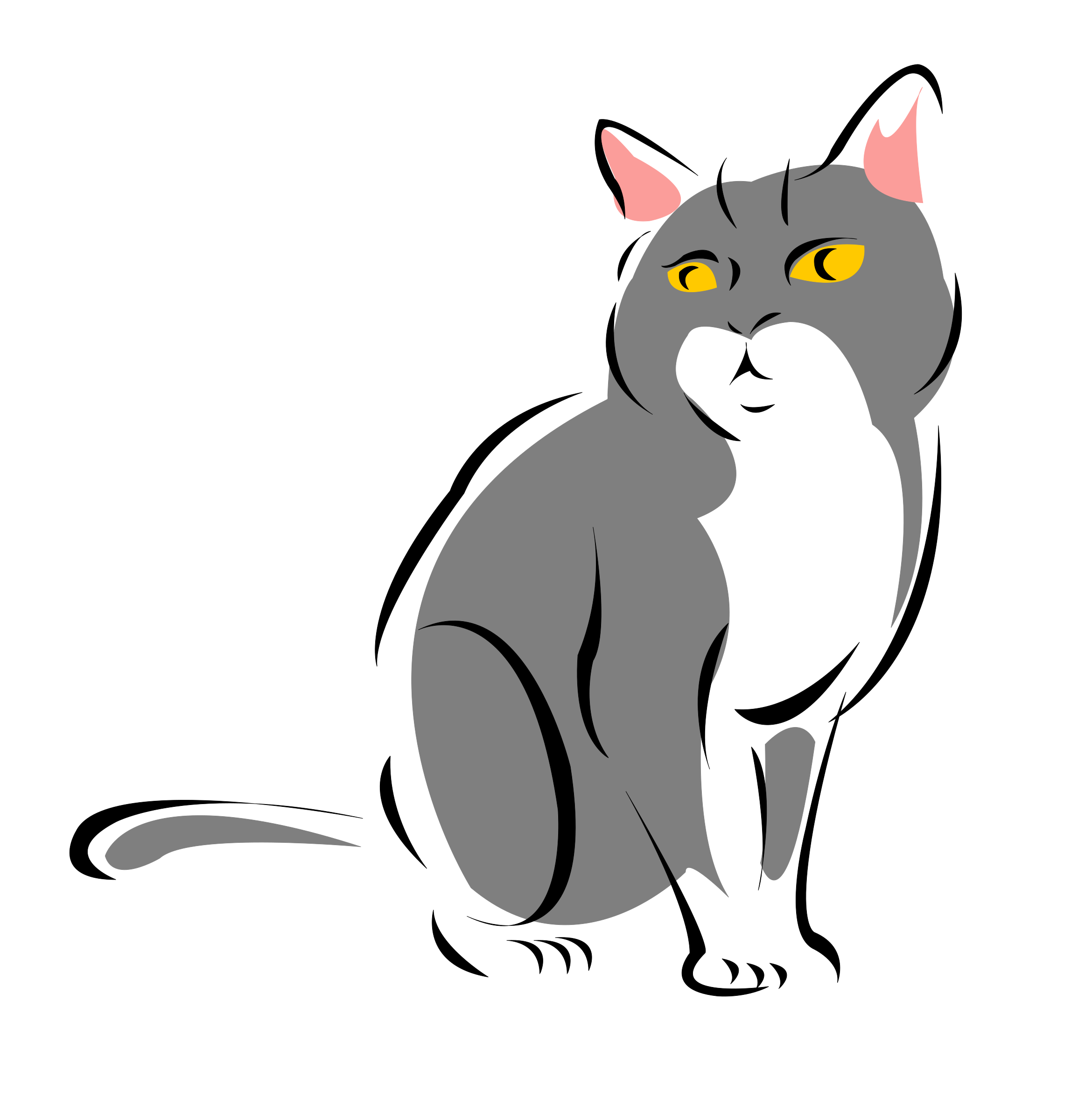 Grey cat clipart image transparent library Clipart - Grey cat image transparent library