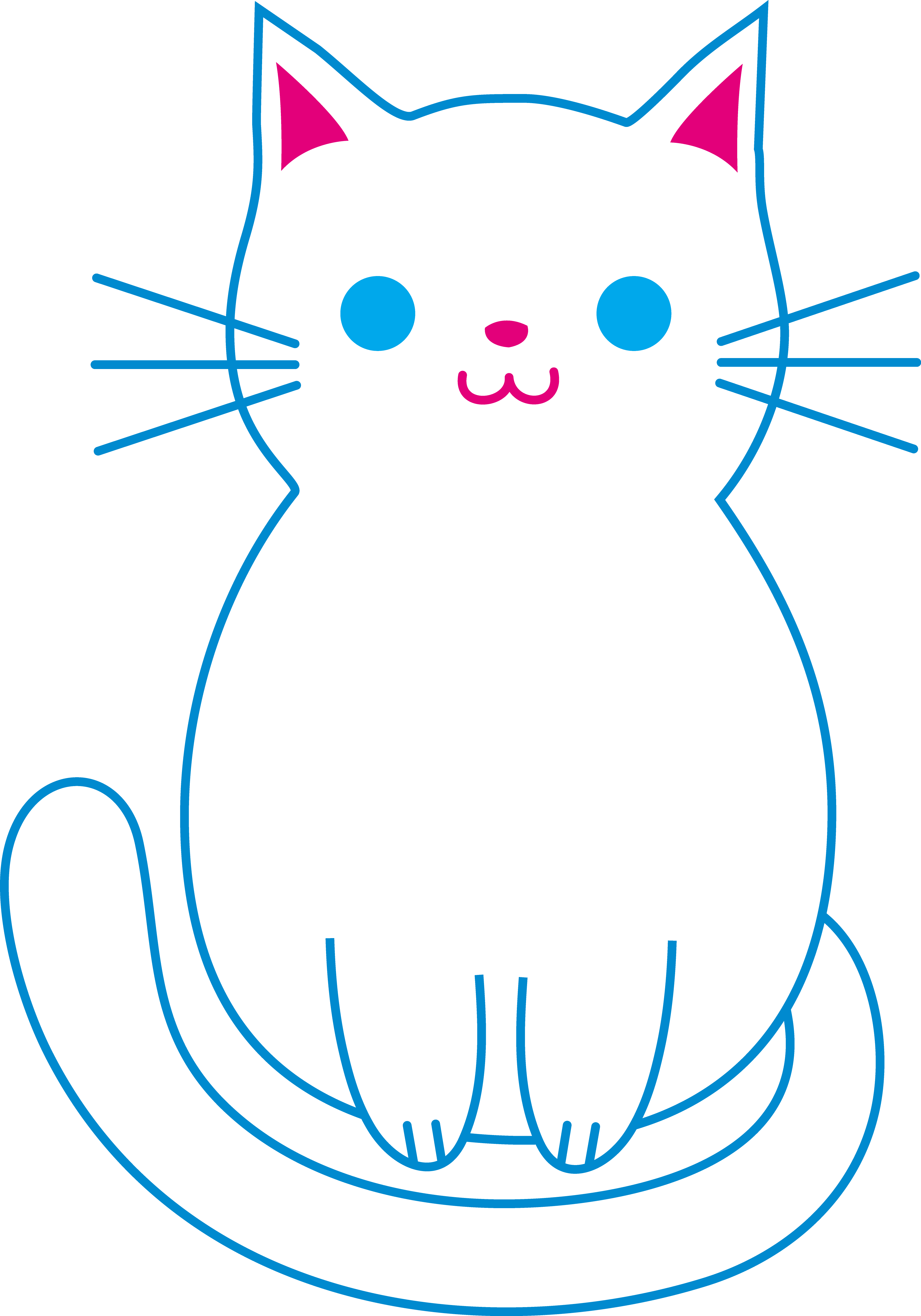 Cat clipart coloring page jpg freeuse Cute White Cat - Free Clip Art - Clip Art Library jpg freeuse