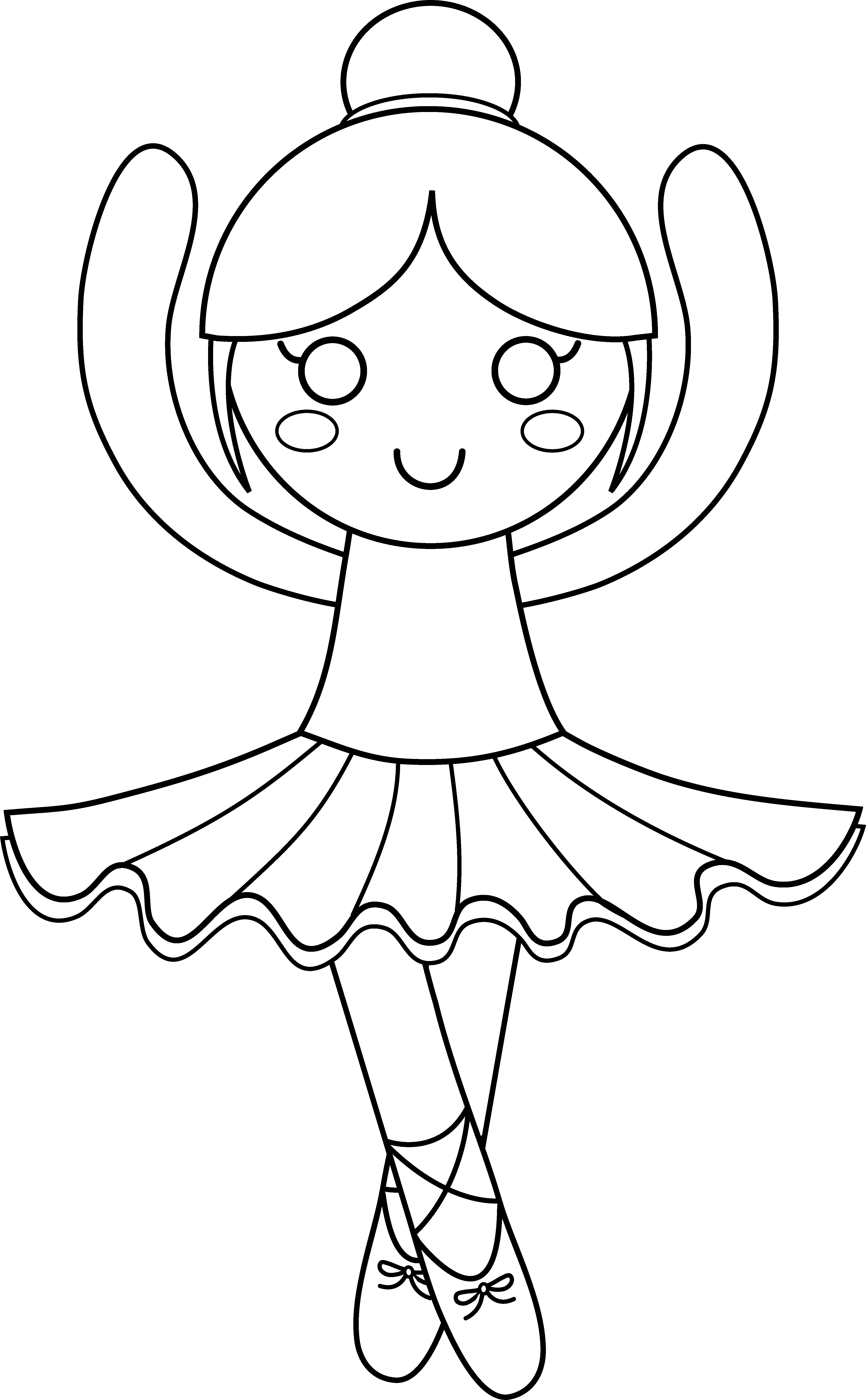 Turkey ballerina clipart vector free library Cute Ballerina Coloring Page - Free Clip Art vector free library