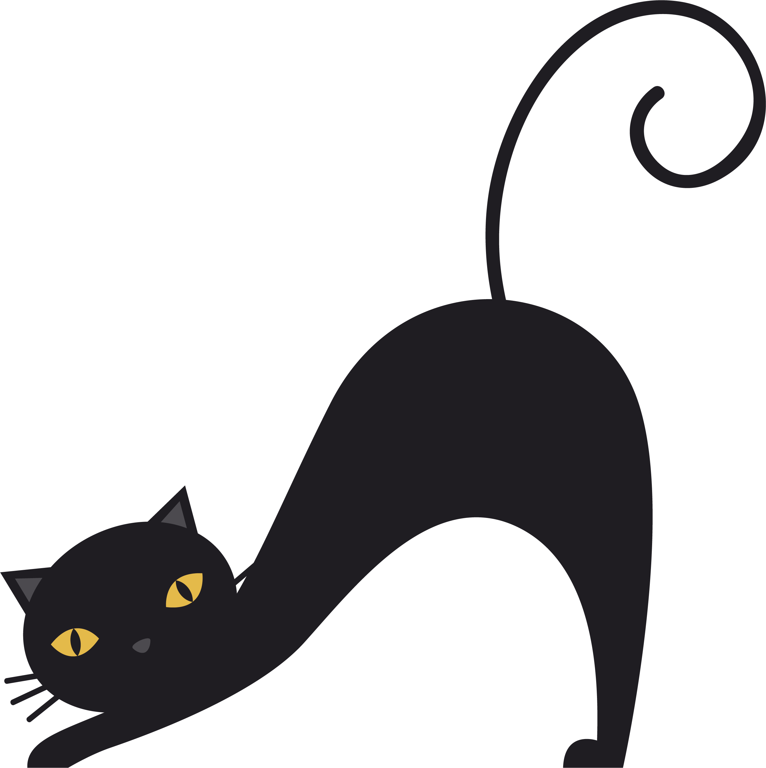 Cat being petted black and white clipart picture transparent download A stretched black cat 2670*2678 transprent Png Free Download ... picture transparent download