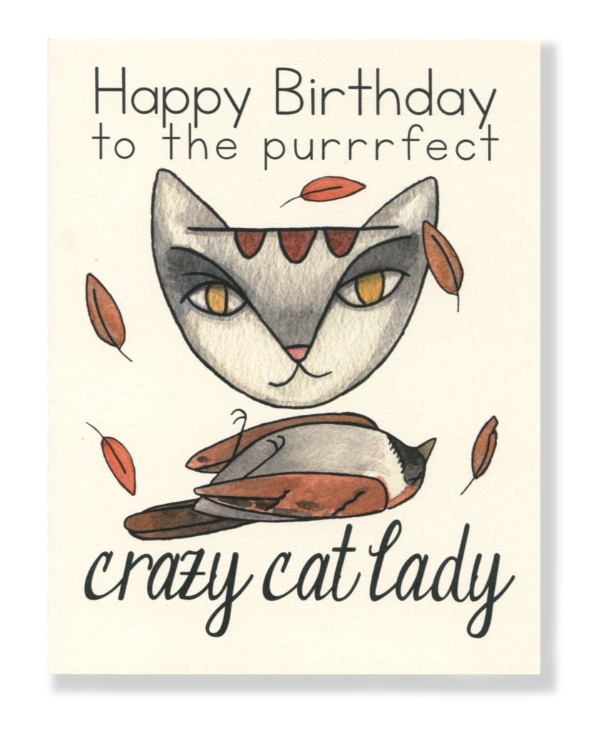 Cat birthday clipart image royalty free Happy Birthday! Crazy Cat Lady card – Cat People Press image royalty free