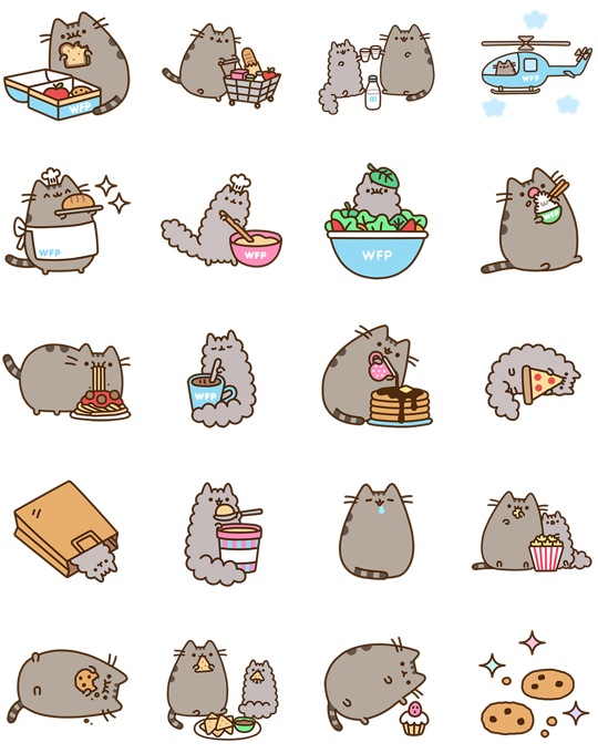 Pete the cat the big lunch clipart picture transparent stock Pusheen Eats Facebook Stickers - Stickers Emoticon | Chibi ... picture transparent stock