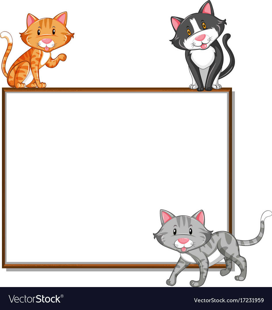 Cat border clipart free vector library stock Border template with three cats vector library stock