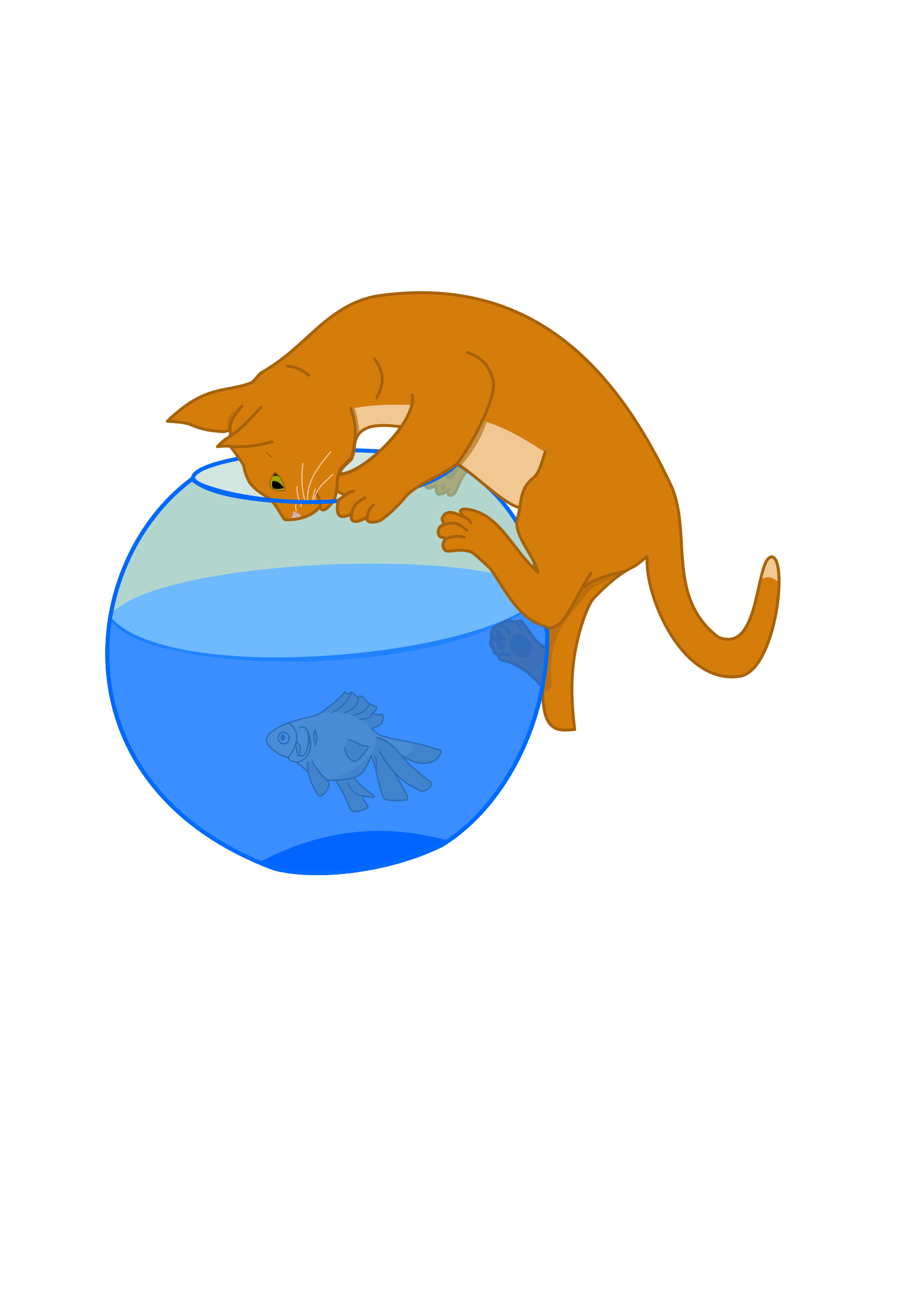Cat bowl clipart image freeuse library Clipart - Cat and fish image freeuse library