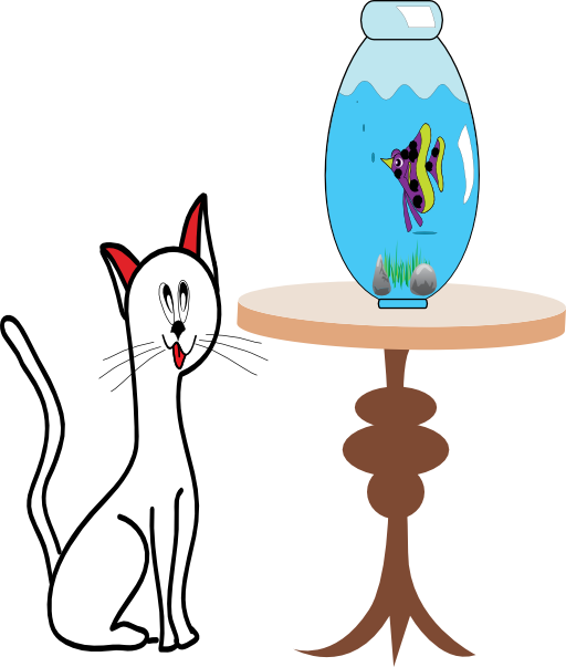 Cat i royalty free. Fish bowl with fish clipart