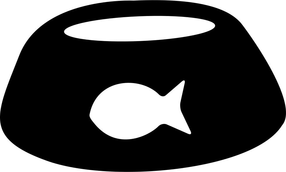 Dog bowl clipart black and white. Pet with fish shape